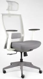 Kancelárská stolička M5 biely plast, látka tmavo šedá + svetlo šedá
