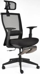 Kancelárská stolička M5 celočierná, podpera nôh čierna