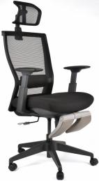 Kancelárská stolička M5 celočierná, podpera nohou šedá