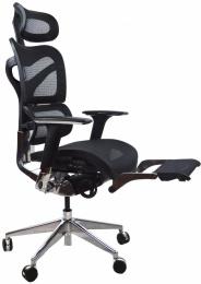 kancelárská stolička ARIES JNS-701L s integrovanou podnožkou, čierna W-11