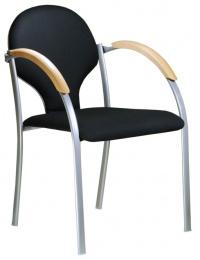 stolička NEON šedý plast, drevené područky, č. AOJ071