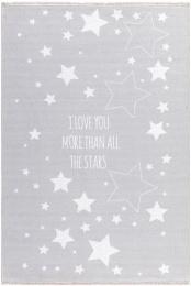 Dětský koberec LOVE YOU STARS šedá/bílá 140x190 cm