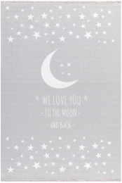 Dětský koberec LOVE YOU MOON stříbrná-šedá/bílá 140x190 cm