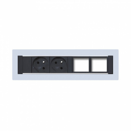 Konfigurovatelný pevný panel, 2x el. zásuvka, 2x volný slot pro 2 až 4 konektory - KPP 4