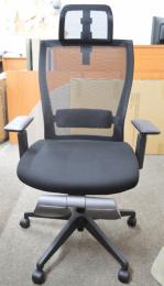 Kancelárská stolička M5 celočierná, podpera nohou šedá, č. AOJ342