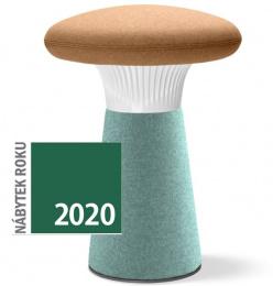 dizajnový taburet FUNGHI-N0 40/50, biely plast