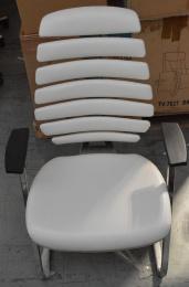 rokovací stolička FISH BONES MEETING šedý plast bílá koženka PU480329 č.AOJ471