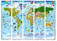 Paraván mapa světa pro děti 5ti dílný