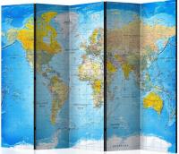 Paraván klasická mapa světa 5ti dílný