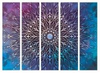 Paraván mandala modrá II 5ti dílný