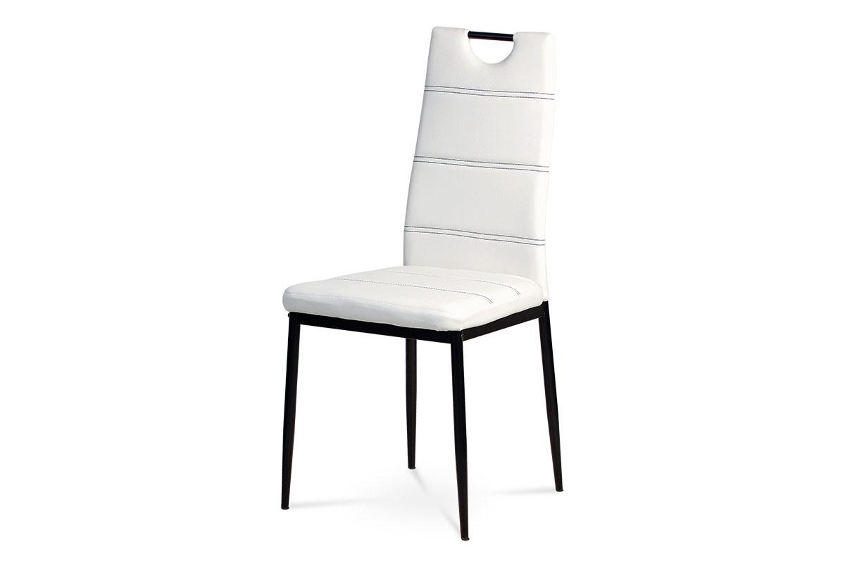Jídelní židle - bílá ekokůže s černým prošitím, kovová podnož, černý matný lak