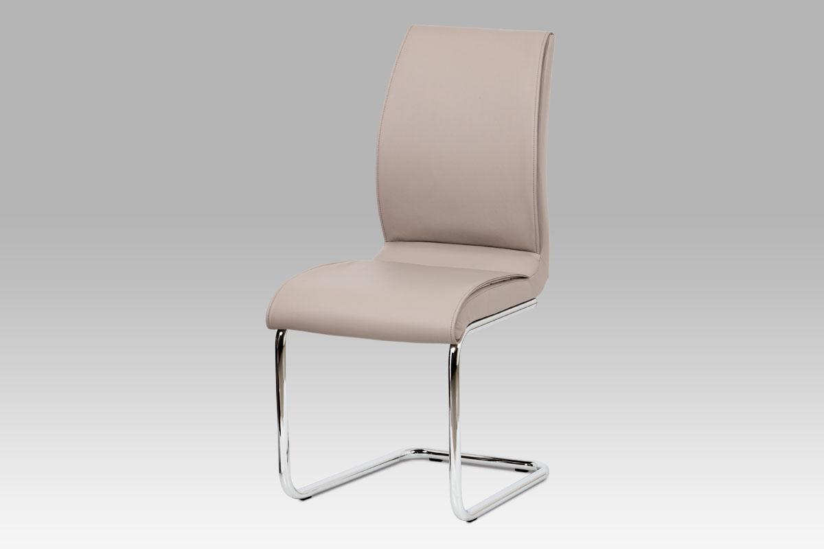 Jídelní židle koženka lanýžová / chrom