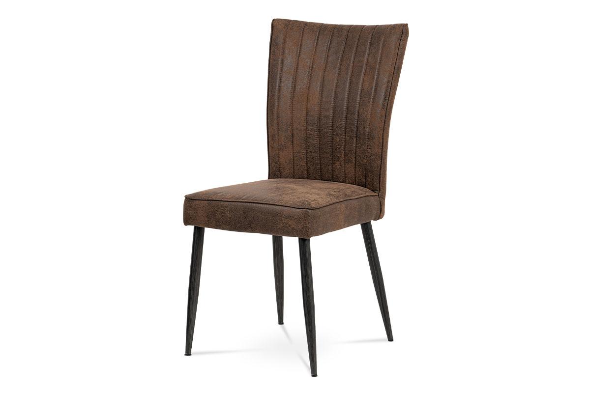 Jídelní židle, látka hnědá, broušený kov antik