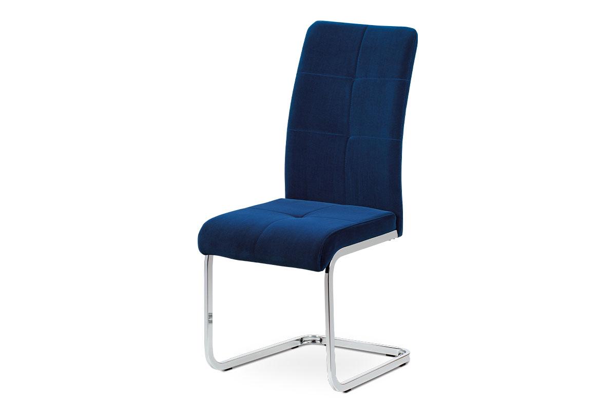 Jídelní židle, modrá sametová látka, kovová pohupová chromovaná podnož