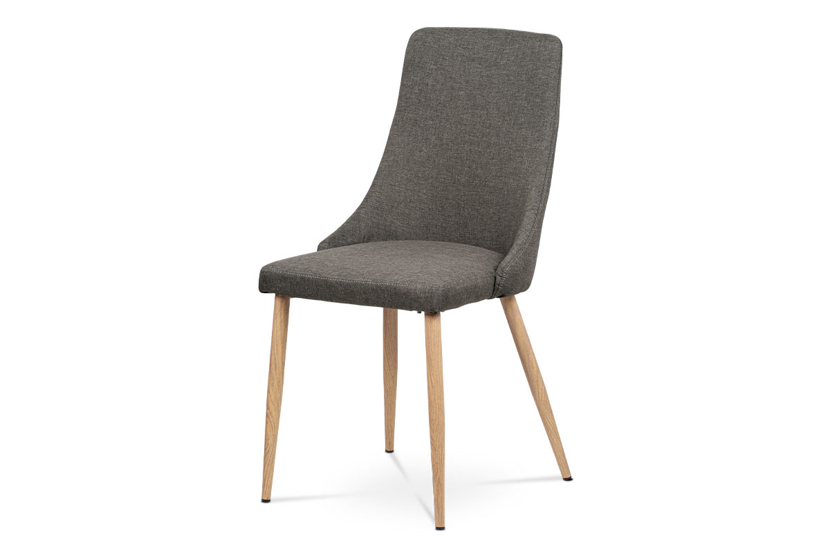 Jídelní židle, coffee látka, kovové nohy, dekor dub