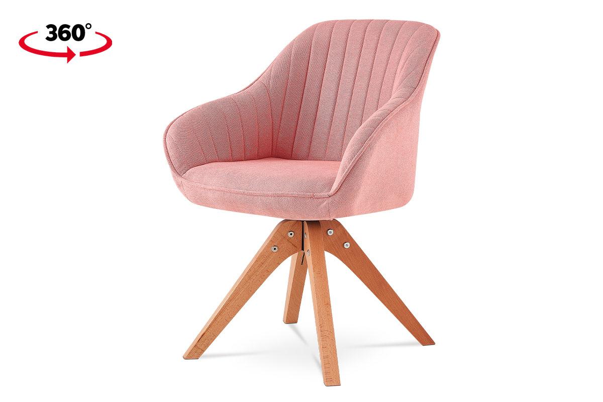 Jídelní židle, látka růžová, nohy masiv buk