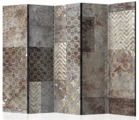Paraván šedozlatá abstrakcie II 5tich dielny