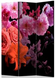 Paraván fialovorůžové květy na černé 3 dílný
