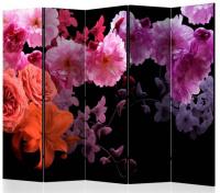 Paraván fialovorůžové květy na černé 5ti dílný
