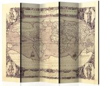 Paraván starodávná mapa II 5ti dílný