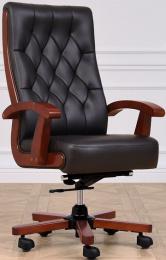 Kancelářské kožené křeslo CONSUL černé, č. AOJ734