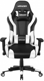 Herná stolička MRacer koženka, čierno-biela