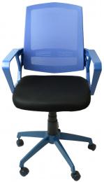 študentská stolička SUN, modré područky, modrý operadlo, čierny sedák č.AOJ1097